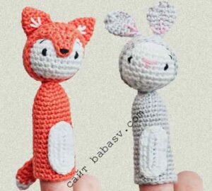 Лесной житель Лиса с Кроликом, пальчиковые игрушки связаны крючком