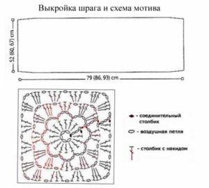 Связанный индейский шраг из квадратных мотивов по схеме