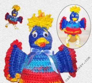 Весенний декор птицы с описанием вязания крючком