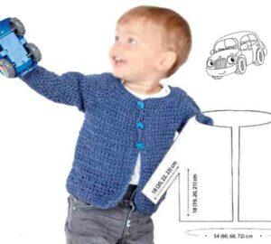 Удобная кофточка для мальчика связана крючком