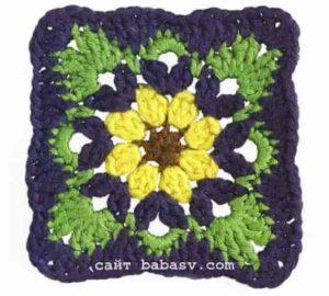 Квадратный мотив цветочный связан крючком