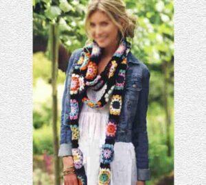 Длинный шарф из гирлянды цветов мотивов крючком