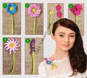 Коллекция цветов на платье связана крючком по описанию