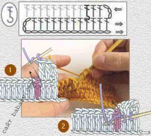 Связать крючком лицевой рельефный столбик, первый шаг