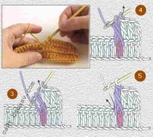 Как связать лицевой рельефный столбик, второй шаг